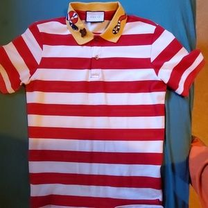 86bd0ceef Gucci stripe red and white polo with snake and bee